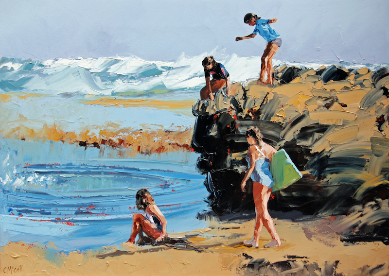 (CreativeWork) Rockpool Jumping II by Claire McCall. oil-painting. Shop online at Bluethumb.