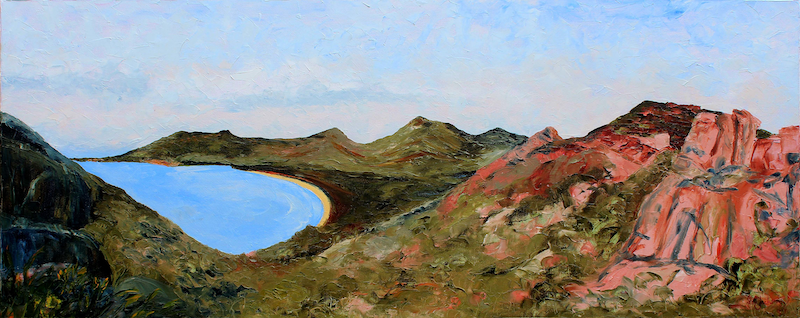 (CreativeWork) A Special Place ( Wineglass Bay, Tasmania ) by scott jackson. oil-painting. Shop online at Bluethumb.