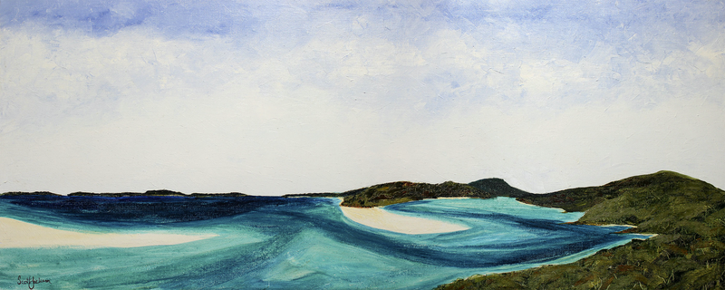 (CreativeWork) Whitehaven ( Whitsunday Island ) by scott jackson. oil-painting. Shop online at Bluethumb.