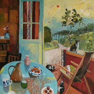 (CreativeWork) Still Life - Cat Colony by Susan Trudinger. arcylic-painting. Shop online at Bluethumb.