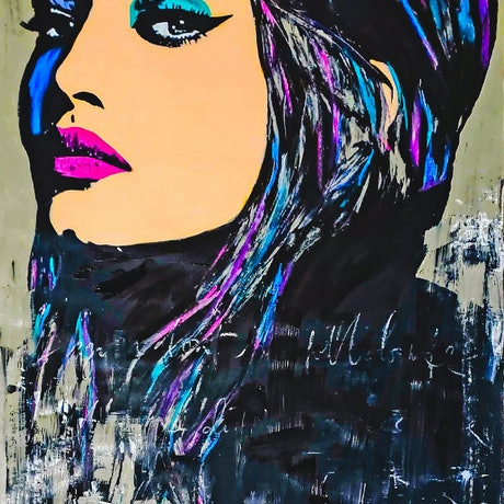 (CreativeWork) Gigi (Hadid) by Rebecca lam. Acrylic Paint. Shop online at Bluethumb.