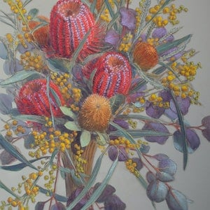 (CreativeWork) Scarlet Banksias and Wattle by Fiona Craig. mixed-media. Shop online at Bluethumb.
