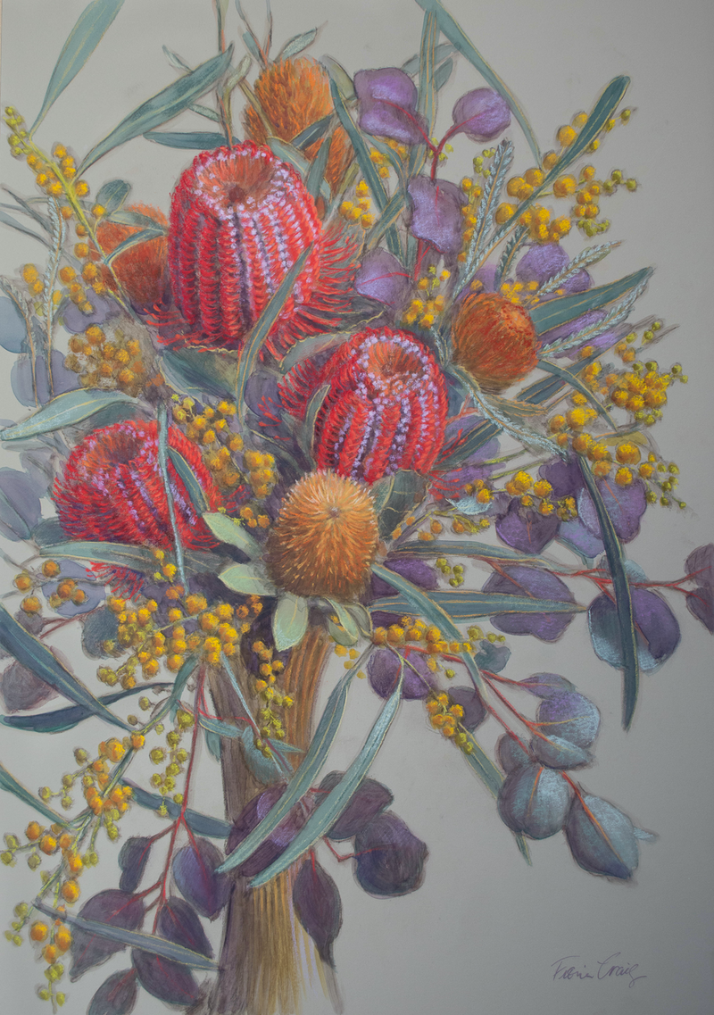 (CreativeWork) Scarlet Banksias and Wattle by Fiona Craig. #<Filter:0x00007f1f781a63e8>. Shop online at Bluethumb.