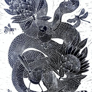 (CreativeWork) Snake with Proteas Ed. 2 of 150 by Marinka Parnham. print. Shop online at Bluethumb.