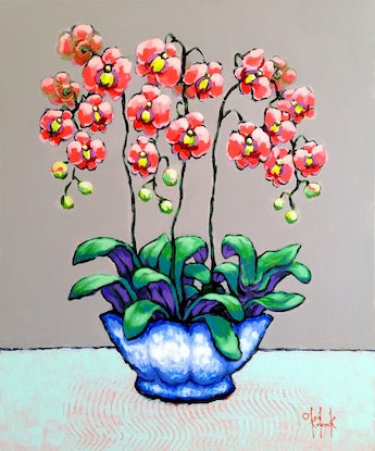 (CreativeWork) Coral Orchids in Blue-White Pot by Olga Kolesnik. #<Filter:0x0000559a2cd10698>. Shop online at Bluethumb.