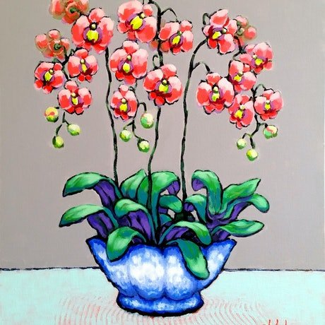 (CreativeWork) Coral Orchids in Blue-White Pot - STILL LIFE by Olga Kolesnik. Acrylic Paint. Shop online at Bluethumb.