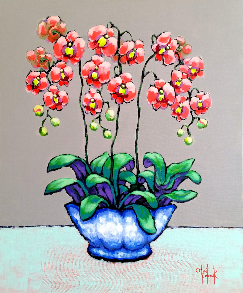 (CreativeWork) Coral Orchids in Blue-White Pot by Olga Kolesnik. acrylic-painting. Shop online at Bluethumb.