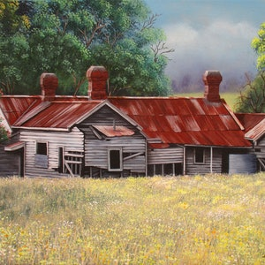 (CreativeWork) Abandoned old farm house 2 by Debra Dickson. arcylic-painting. Shop online at Bluethumb.