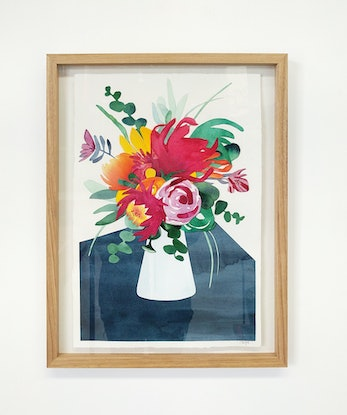 (CreativeWork) Flowers in the Kitchen — watercolour collage by Lyndsey Knight. Mixed Media. Shop online at Bluethumb.