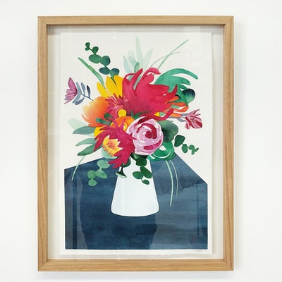 (CreativeWork) Flowers in the Kitchen — watercolour collage by Lyndsey Knight. #<Filter:0x00007fa58459d3d8>. Shop online at Bluethumb.