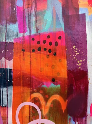 (CreativeWork) Orange Fizz by Sandra Oost. Mixed Media. Shop online at Bluethumb.