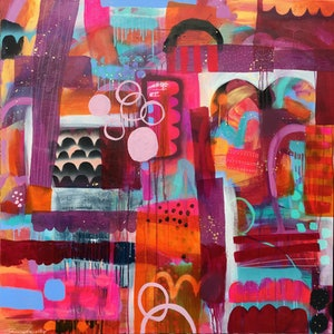 (CreativeWork) Orange Fizz by Sandra Oost. mixed-media. Shop online at Bluethumb.