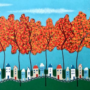 (CreativeWork) Tiny Town Under The Autumn Trees no.2  - Very Large by Lisa Frances Judd. arcylic-painting. Shop online at Bluethumb.
