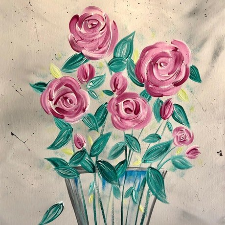 (CreativeWork) English roses - modern floral painting  by Debra Ryan. Mixed Media. Shop online at Bluethumb.