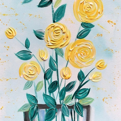 (CreativeWork) Vase of happiness - floral roses in a modern style painting by Debra Ryan. Mixed Media. Shop online at Bluethumb.