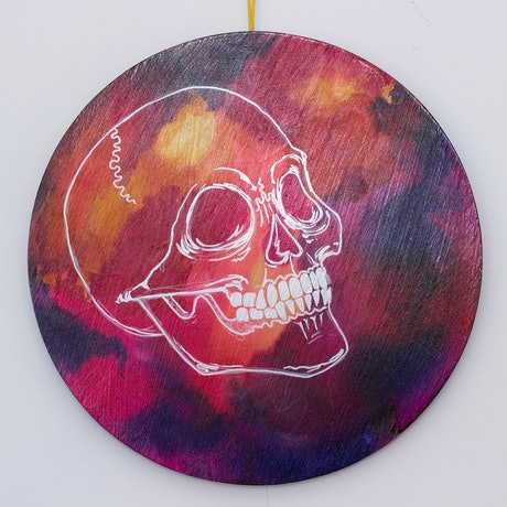 (CreativeWork) Rose Coloured Haze with Skull by Bron Watson. Mixed Media. Shop online at Bluethumb.
