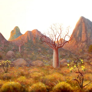 (CreativeWork) Boab and Kapok by Howard Sparks. oil-painting. Shop online at Bluethumb.