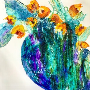 (CreativeWork) Flurry of Flowers by Meg Lewer. mixed-media. Shop online at Bluethumb.