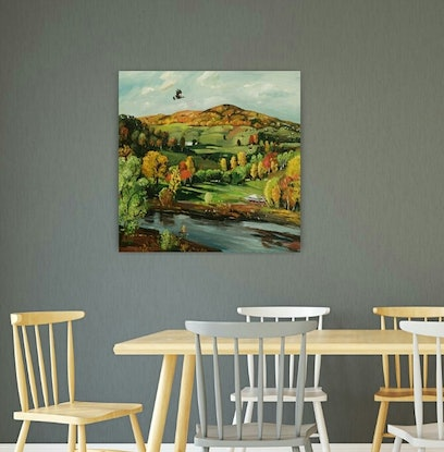 (CreativeWork) Landscape - Early Autumn by Susan Trudinger. Acrylic Paint. Shop online at Bluethumb.