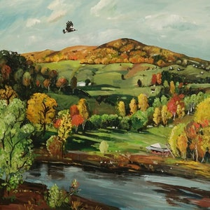 (CreativeWork) Landscape - Early Autumn by Susan Trudinger. arcylic-painting. Shop online at Bluethumb.