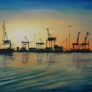 (CreativeWork) Dockside by Diane Hodson. oil-painting. Shop online at Bluethumb.