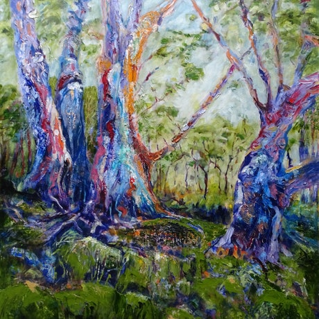 (CreativeWork) GUM TREES, HEYSON TRAIL by Maureen Finck. Oil Paint. Shop online at Bluethumb.