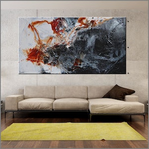 (CreativeWork) Rusted Infusion 190cm x 100cm Rust Ochre Oxide Textured Acrylic Abstract Gloss Finish FRANKO by _Franko _. arcylic-painting. Shop online at Bluethumb.