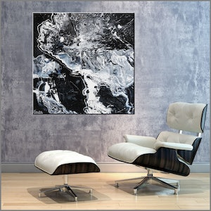 (CreativeWork) Designer Tango  100cm x 100cm black white minimalist Textured Acrylic Abstract Gloss Finish FRANKO by _Franko _. acrylic-painting. Shop online at Bluethumb.