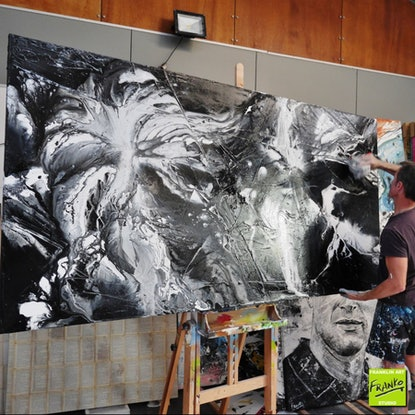 (CreativeWork) Misty  HUGE 240cm x 120cm black white fluid Textured Acrylic Abstract Gloss Finish FRANKO   by _Franko _. Acrylic Paint. Shop online at Bluethumb.