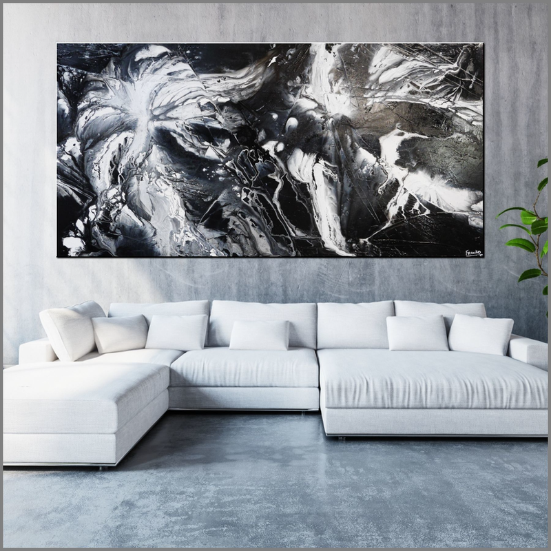 (CreativeWork) Misty  HUGE 240cm x 120cm black white fluid Textured Acrylic Abstract Gloss Finish FRANKO   by _Franko _. arcylic-painting. Shop online at Bluethumb.