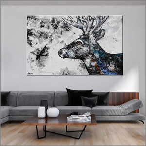(CreativeWork) Stagnation HUGE 160cm x 100cm  Abstract Stag Reindeer gloss finish texture FRANKO  by _Franko _. mixed-media. Shop online at Bluethumb.