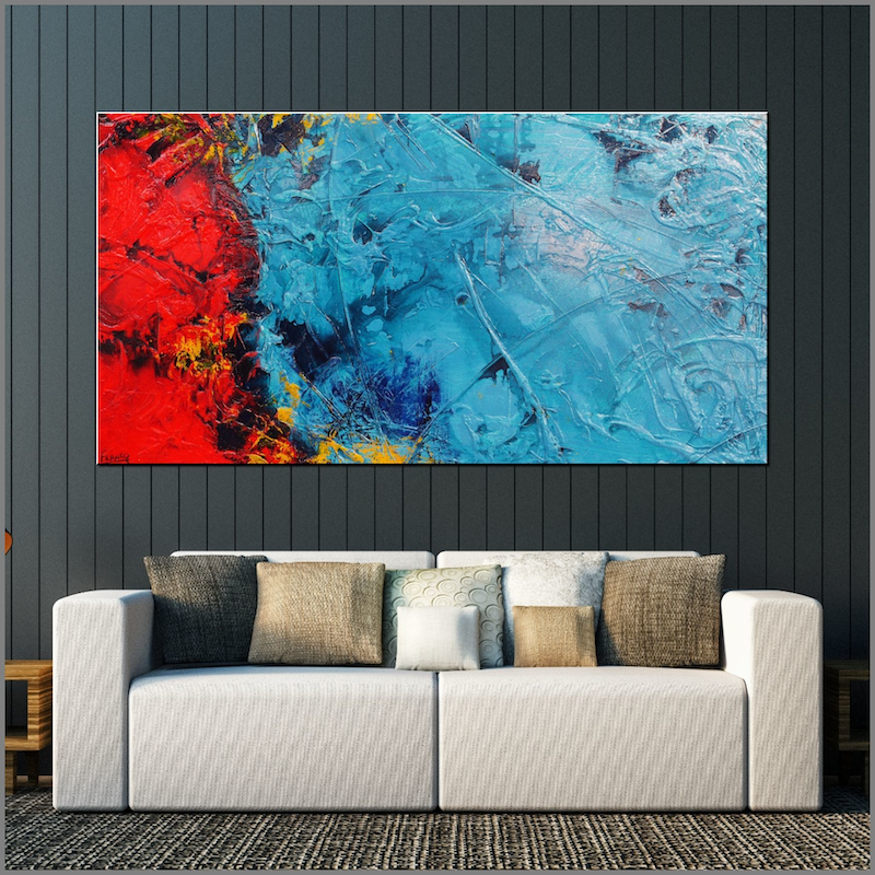 (CreativeWork) Red and Teal Ice 190cm x 100cm Teal Ink red Textured Acrylic Abstract Gloss Finish FRANKO by _Franko _. arcylic-painting. Shop online at Bluethumb.