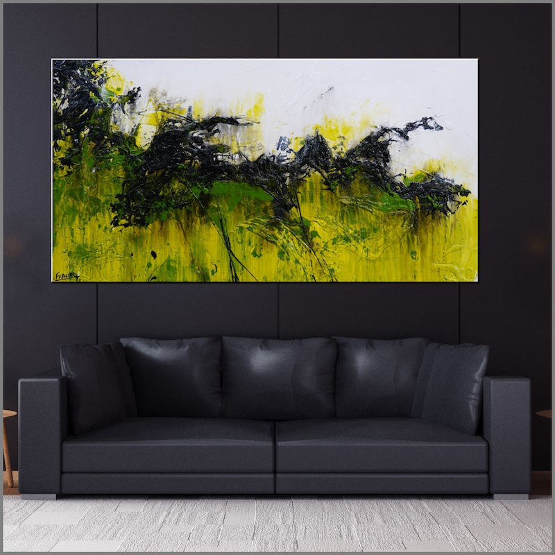(CreativeWork) Limer  huge 190cm x 100cm White Lime Black GreenTextured Abstract  FRANKO  by _Franko _. #<Filter:0x00007f66e8c89d20>. Shop online at Bluethumb.
