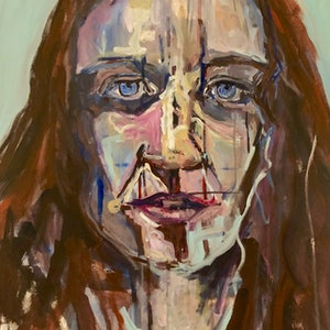 (CreativeWork) A day at the Archibald- A self Portrait. by Rachel Grove. arcylic-painting. Shop online at Bluethumb.