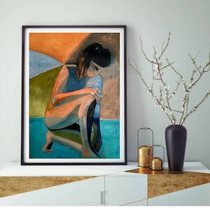 (CreativeWork) Somewhere in Fountain Blue - abstract nude by Lee Wilde. acrylic-painting. Shop online at Bluethumb.