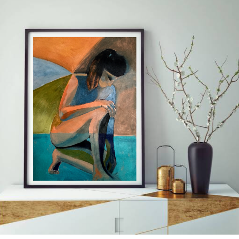 (CreativeWork) Somewhere in Fountain Blue - abstract nude by Lee Wilde. Acrylic Paint. Shop online at Bluethumb.