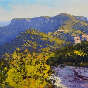 (CreativeWork) Late afternoon Narrow Neck, Katoomba by Graham Gercken. oil-painting. Shop online at Bluethumb.