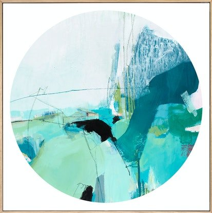 (CreativeWork) Remember - large, square, original blue green painting. by Stephanie Laine. Mixed Media. Shop online at Bluethumb.