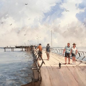 (CreativeWork) Lorne Pier by Kanag Janakan. watercolour. Shop online at Bluethumb.