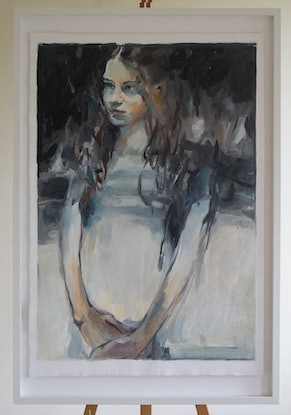 (CreativeWork) Portrait of Young Woman by Tony Belobrajdic. Oil Paint. Shop online at Bluethumb.