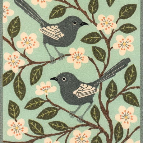 (CreativeWork) White winged Wrens Ed. 4 of 30 by Kate Hudson. Print. Shop online at Bluethumb.