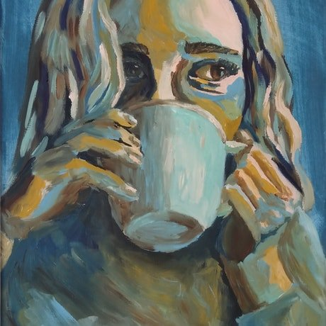 (CreativeWork) Morning Coffee by Trista Henfling. Oil Paint. Shop online at Bluethumb.