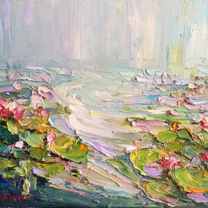 (CreativeWork) Water lilies No 2 by Liliana Gigovic. #<Filter:0x00007f3c25697838>. Shop online at Bluethumb.