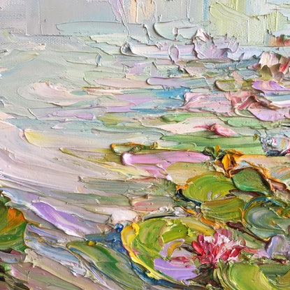 (CreativeWork) Water lilies No 2 by Liliana Gigovic. Oil Paint. Shop online at Bluethumb.