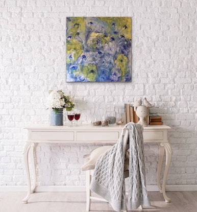 (CreativeWork) Blue Dream With Yellow by Kitty Berton. Acrylic Paint. Shop online at Bluethumb.