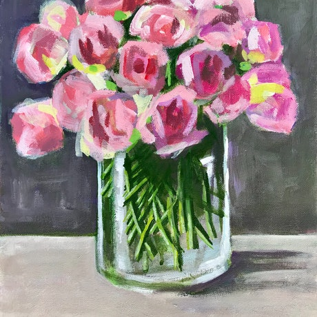 (CreativeWork) Pink roses in glass vase by Deborah Green. Acrylic Paint. Shop online at Bluethumb.