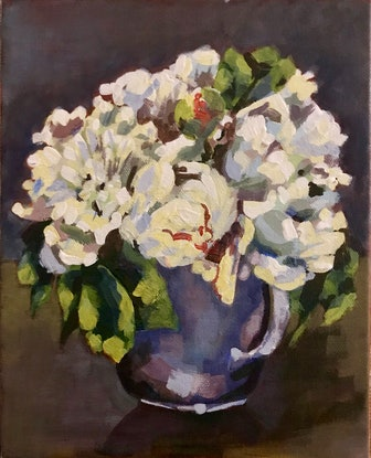 (CreativeWork) White posy in vintage jug by Deborah Green. Acrylic Paint. Shop online at Bluethumb.
