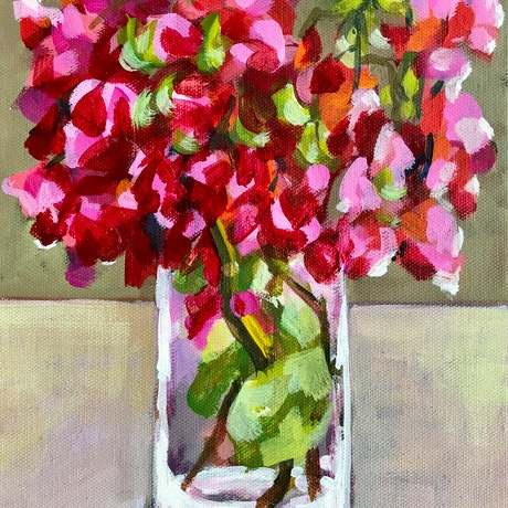 (CreativeWork) Late summer bouquet by Deborah Green. Acrylic Paint. Shop online at Bluethumb.