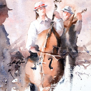 (CreativeWork) The Musicians by Chrysovalantou Mavroudis. watercolour. Shop online at Bluethumb.