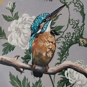 (CreativeWork) Vintage Flora & Fauna Series - Kingfisher Ed. 1 of 50 by HEYLIE MORRIS. print. Shop online at Bluethumb.
